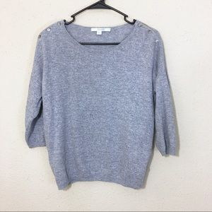 Boden Gray Sweater Shoulder Buttons 3/4 Sleeves 8
